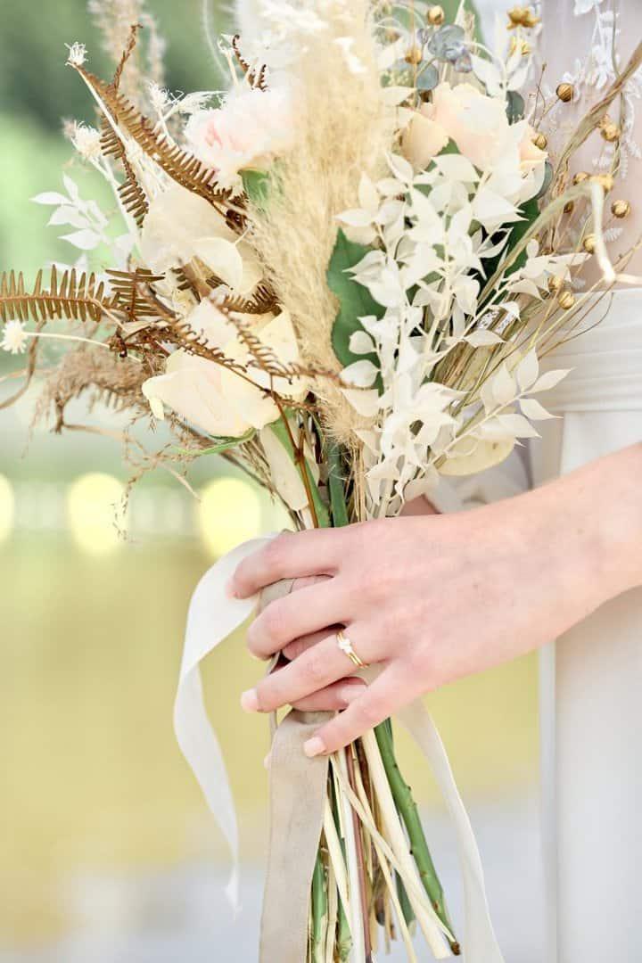 bouquet mariée fleurs séchées bohème chic