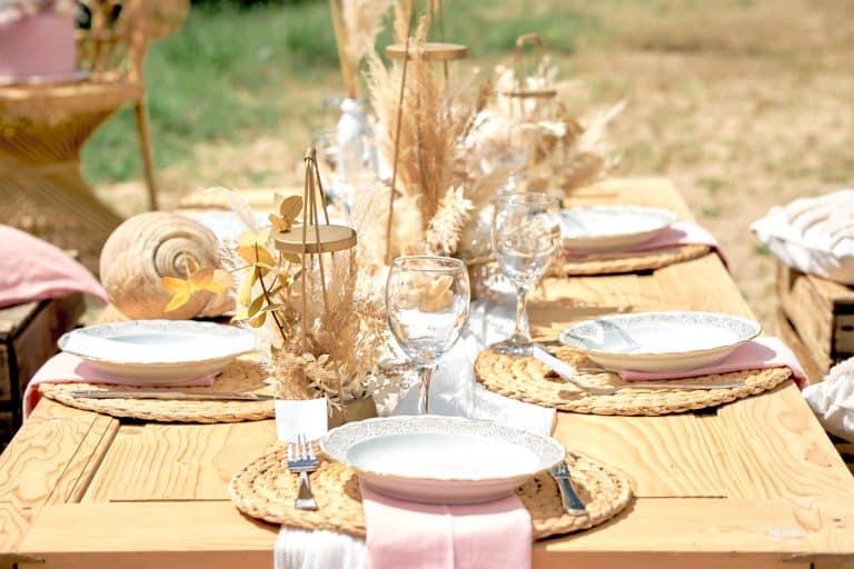 table mariage plage bohème