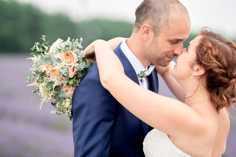 couple lavender fields wedding bordeaux