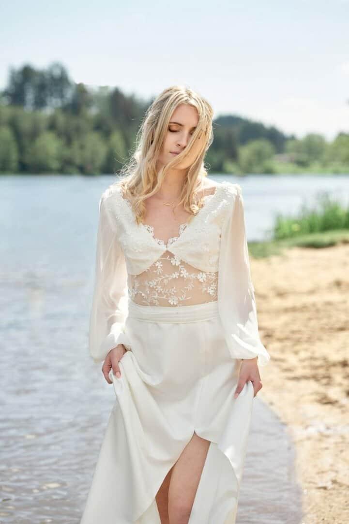 Bride walking on water bordeaux wedding