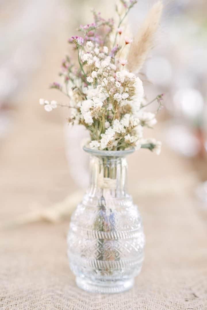 Décoration table fleurs séchées idée mariage