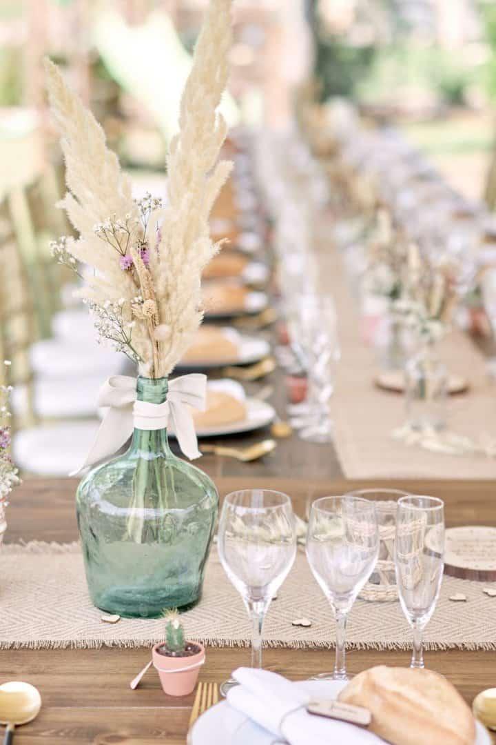 idée décoration de table fleurs séchées