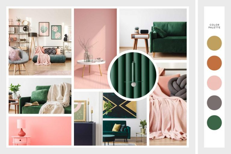 interior design moodboard pink green