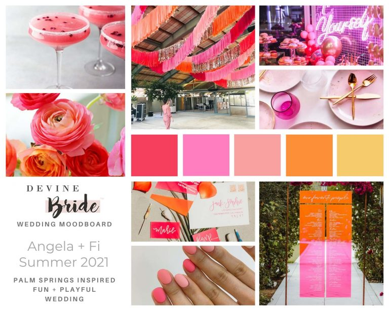 pink and girly wedding moodboard example