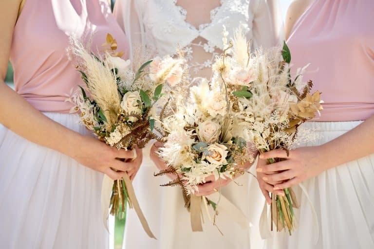 wedding dry florals bridesmaids venice