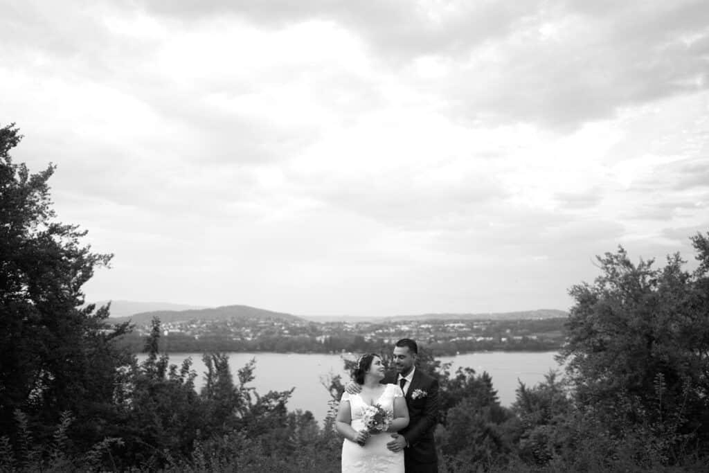 mariage vue lac d'annecy hôtel lei réception photo couple