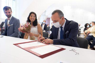 Signature contrat mariage mairie